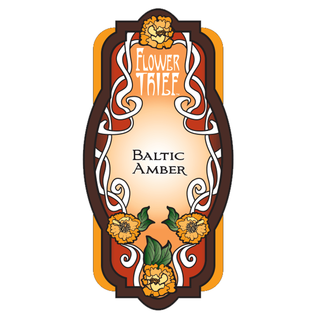 Flower Thief perfumes by Elixery- Baltic Amber Perfume Label