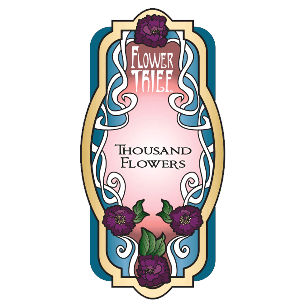 Thousand Flowers Perfume Label. This is a closeup of the label design for the fragrance containing Peony, Magnolia, Jasmine and Lilac. Flower Thief is a trademark of Elixery.