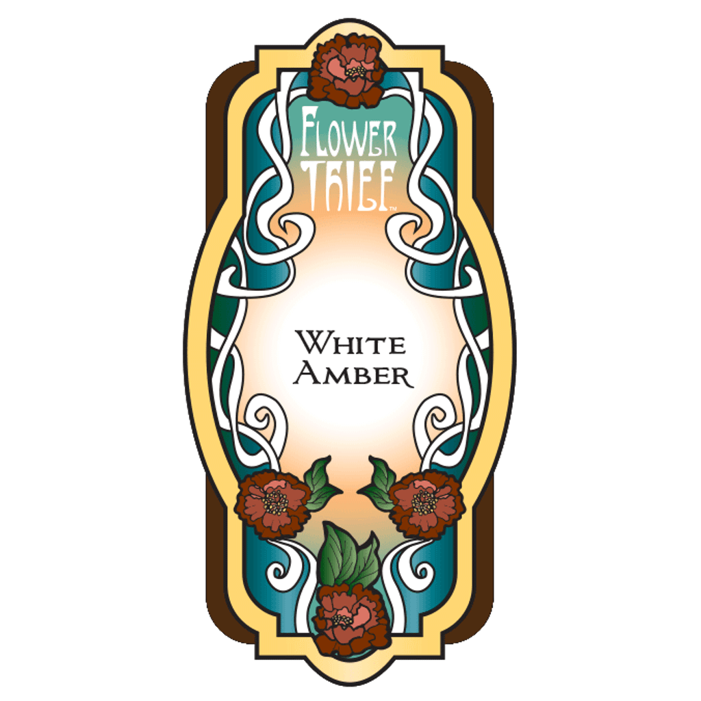 White Amber Perfume Label design closeup from Flower Thief fragrances by Elixery.