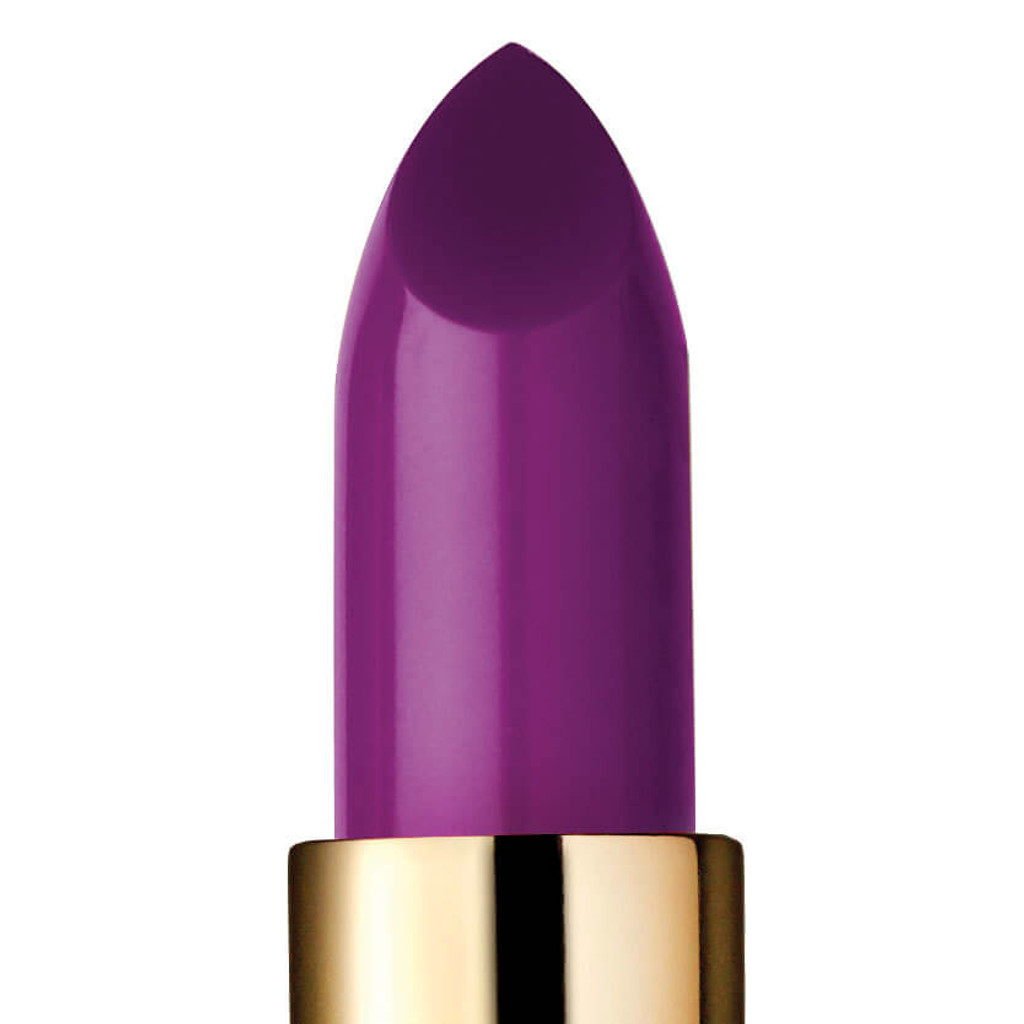 Closeup of Love Potion, a bright purple lipstick.