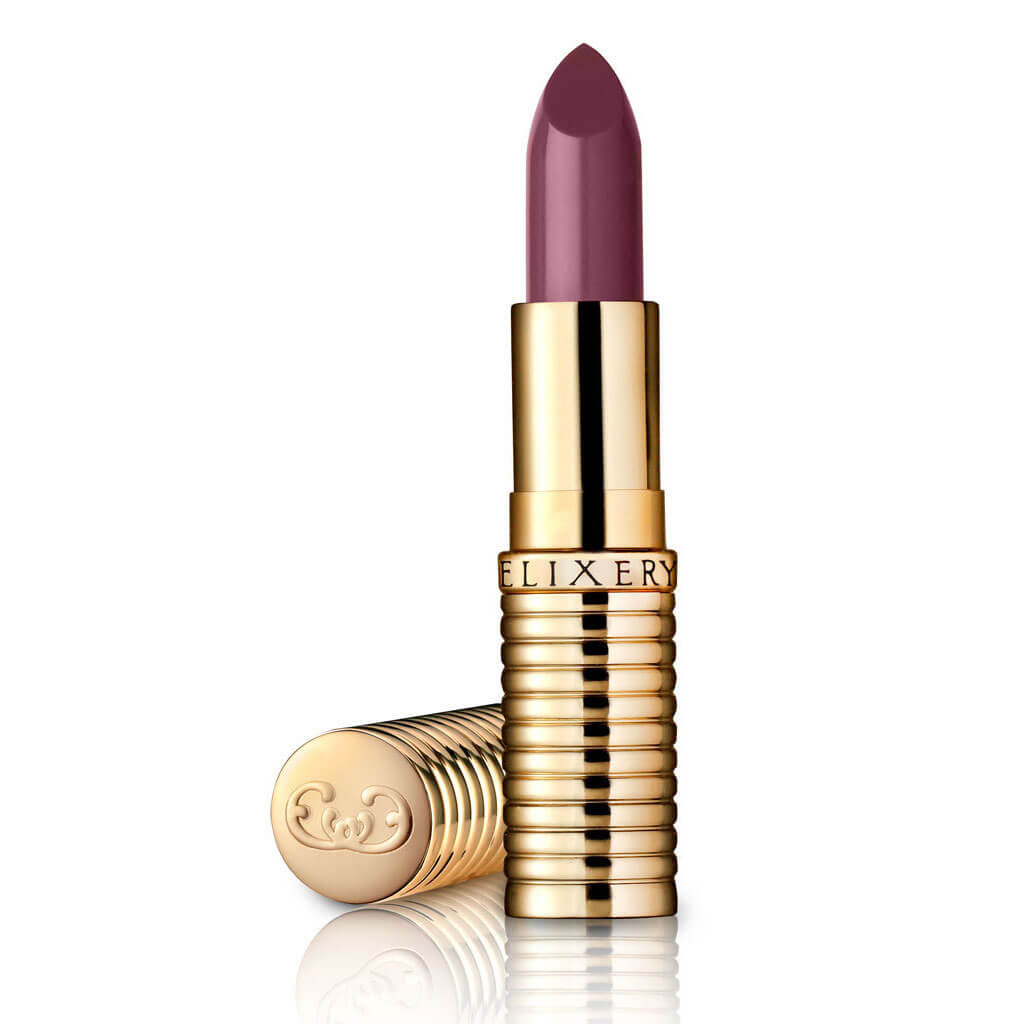 Serendipity, a dusty pink lipstick shade in a gold tube.