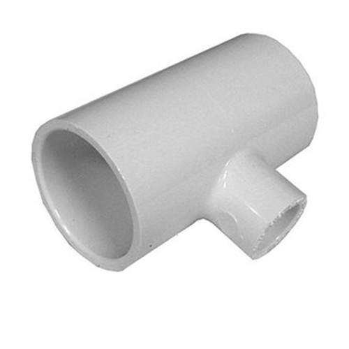 "White PVC TEE  2"" Slip x 1"" Slip Reducing  x 2"" Slip"