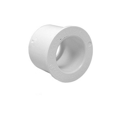 "White PVC Reducer Bushing - 1-1/2"" Spigot x 1/2"" Slip"