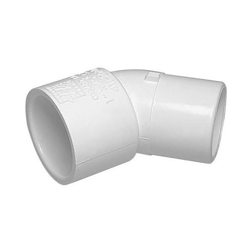 """White PVC Street Elbow - 1"""" Slip x 1"""" Spigot, 45 Degrees"""