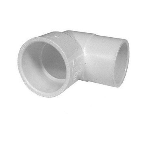 "White PVC Street Elbow - 1-1/2"" Slip x 1-1/2"" Spigot, 90 Degrees"