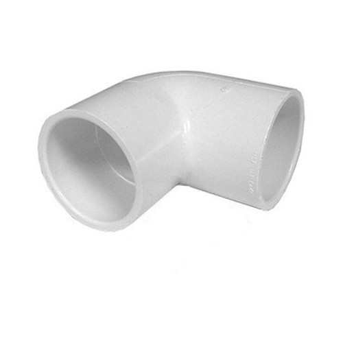 "White PVC Elbow - 2"" Slip x 1-1/2"" Slip, 90 Degrees"