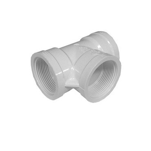 "White PVC TEE 1-1/2"" FPT x 1-1/2"" FPT x 1-1/2"" FPT"