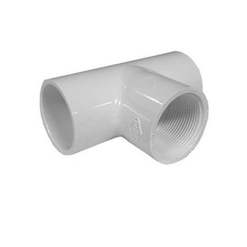 "White PVC TEE  1-1/4"" Slip x 1-1/4"" Slip x 1-1/4"" FPT"