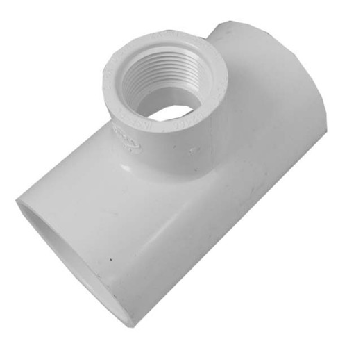 "White PVC TEE 1-1/2"" Slip x 1-1/2"" Slip Reducing 1"" FPT"