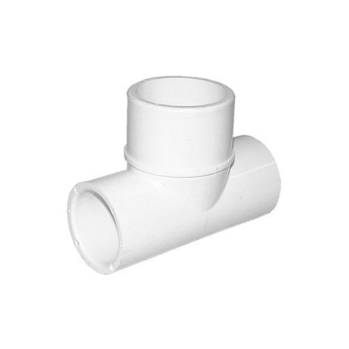"""White PVC Tee - 1"""" Slip x 1"""" Slip x 1-1/2"""" Spigot"""