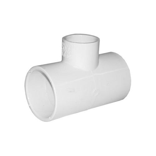 """White PVC Tee - 2"""" Spigot x 2"""" Spigot x 1"""" Slip"""