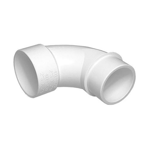 """White PVC Sweep Elbow - 2-1/2"""" Slip x 2-1/2"""" Spigot"""
