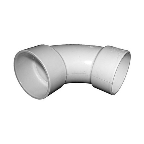 "White PVC Sweep Elbow - 2"" Slip x 2"" Slip"