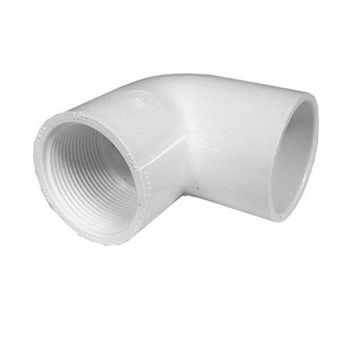 """White PVC Elbow - 1-1/2"""" Slip x 1/2"""" FPT, 90 Degrees"""