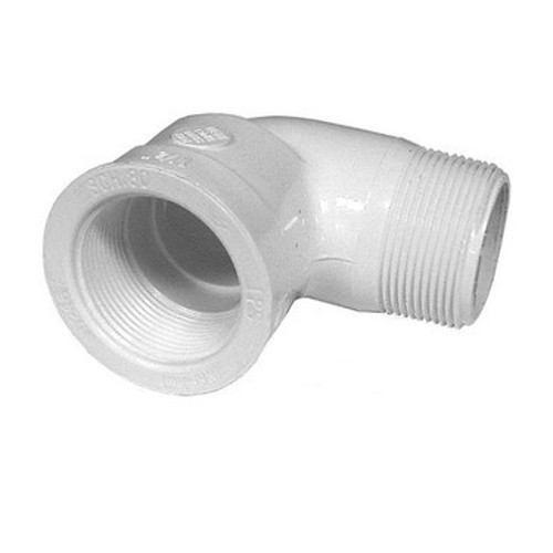 "PVC Street Elbow - 1/2"" MPT Thread x 1/2"" FPT"