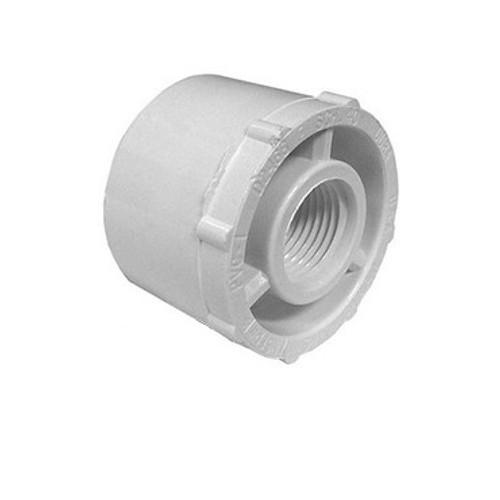 "White PVC Reducer Bushing - 1-1/2"" Spigot x 1"" FPT"