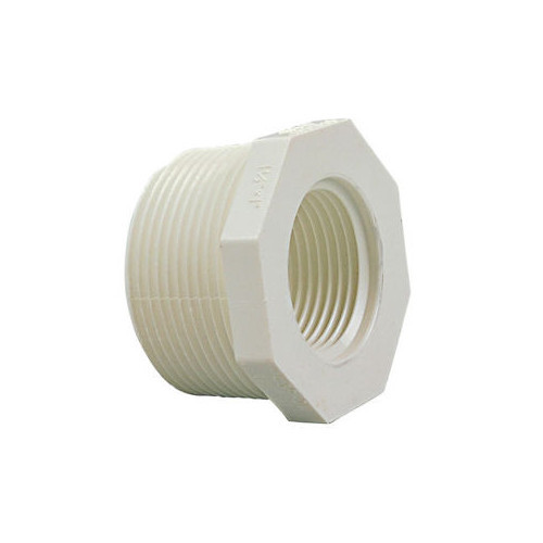 "White PVC Threaded Bushing - 1/2"" MPT x 1/4"" FPT"
