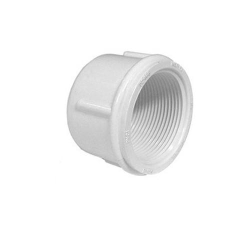 "White PVC Pipe Cap - 1-1/2"" Female Pipe Thread"