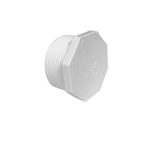 "White PVC Plug - 1-1/2"" Male Pipe Thread"