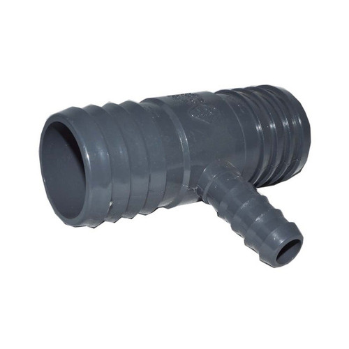 "PVC Insert Fitting Tee- 1-1/2"" x 1-1/2"" x 1/2"" Barbed"