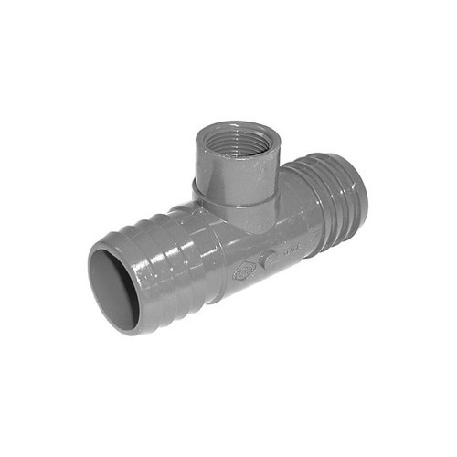 "PVC Insert Fitting Tee- 1-1/2"" Barbed x 1-1/2"" Barbed x 3/4"" FPT"