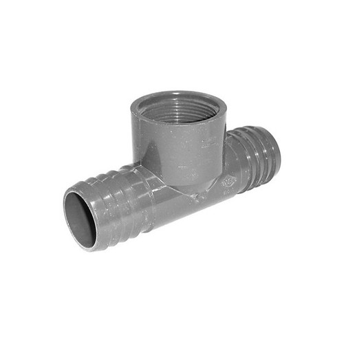 "PVC Insert Fitting Tee- 1-1/2"" Barbed x 1-1/2"" Barbed x 1-1/2"" FPT"