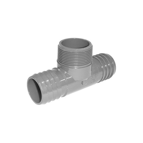 """PVC Insert Fitting Tee- 1-1/2"""" Barbed x 1-1/2"""" Barbed x 1-1/2"""" MPT"""