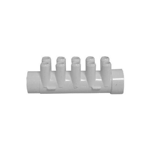 """Waterway Manifold Shur Grip - 1-1/2"""" Slip x 1-1/2""""SP x (10) 3/4"""" Barb"""