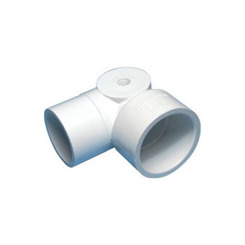 "White PVC Elbow - 1-1/2"" Spigot x 1-1/2"" Slip x 1/8"" FPT"