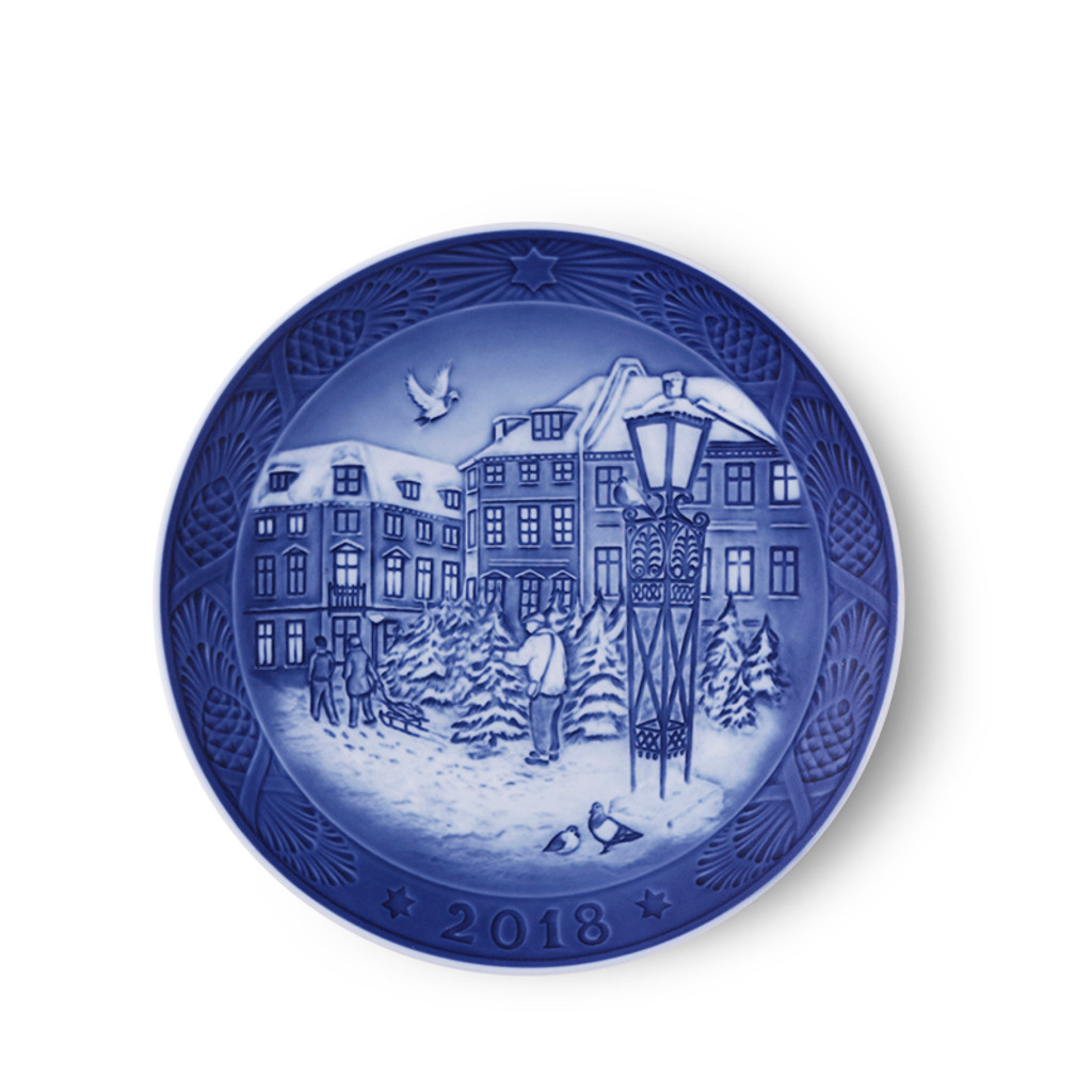 2018 Royal Copenhagen Christmas Plate - Christmas Tree Market, available at The Nordic Shop