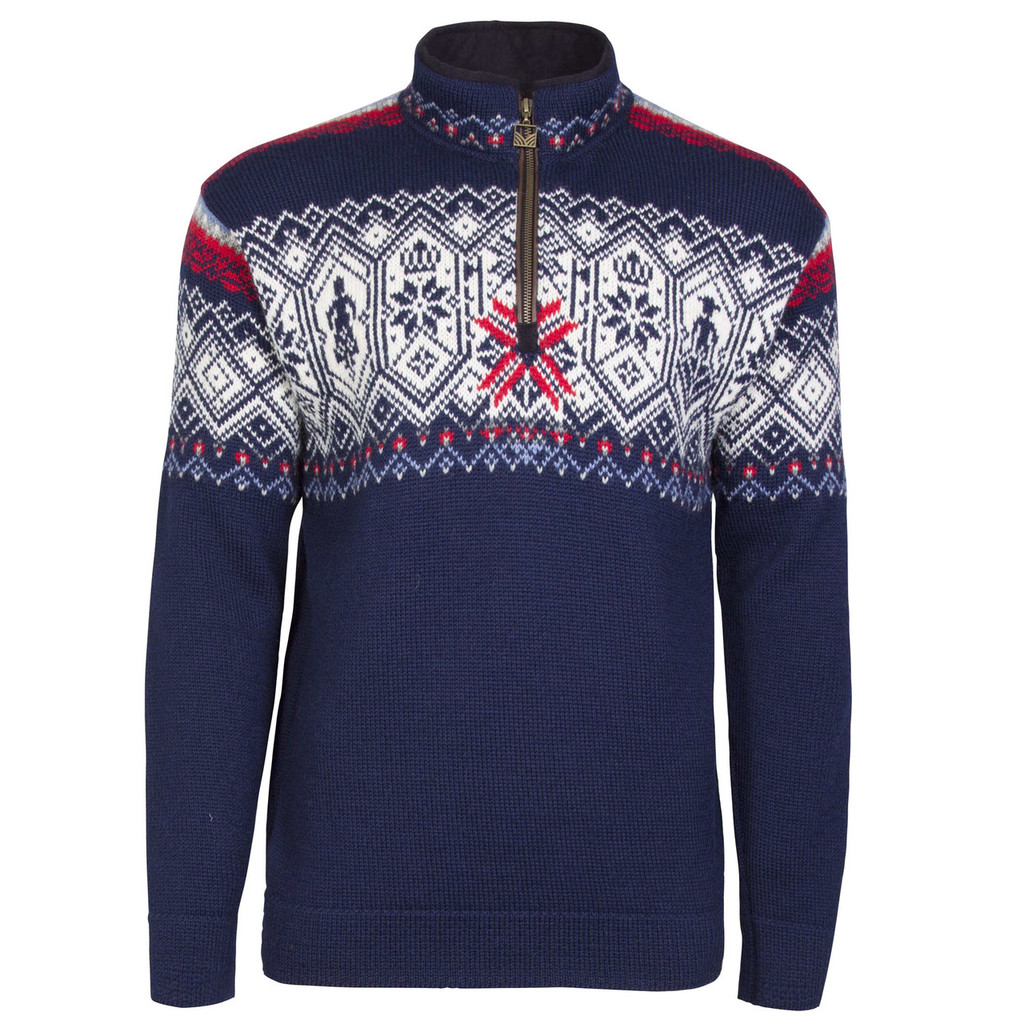 Dale of Norway Norge 1/4 Zip Sweater, Mens - Navy with White Multicolor, 93731-C