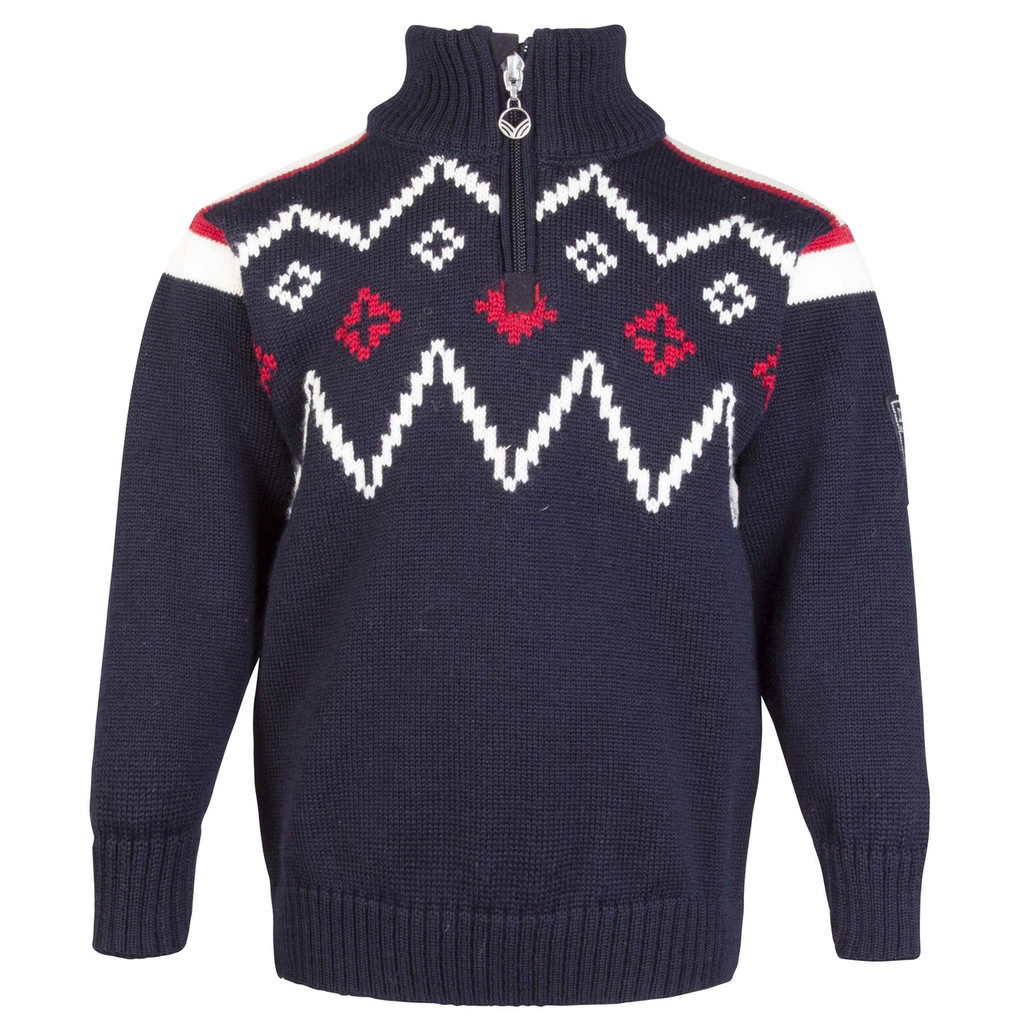 Dale of Norway Seefeld Pullover, Kids - Navy/Raspberry/Off White, 93651-C