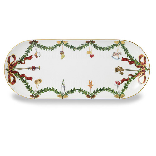 Royal Copenhagen Star Fluted Christmas Oblong Platter, 16.5""