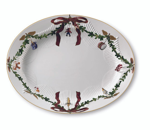 Royal Copenhagen Star Fluted Christmas Serving Platter - Oval, 14.25""