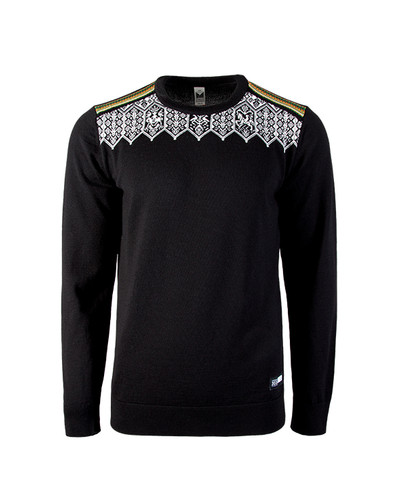 Dale of Norway Lillehammer Sweater, Mens - Black/Orange Peel/Off White/Spring Green, 93271-F