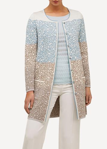Ella Oleana Long Length Cardigan with Pockets, 316BQ Beige/White