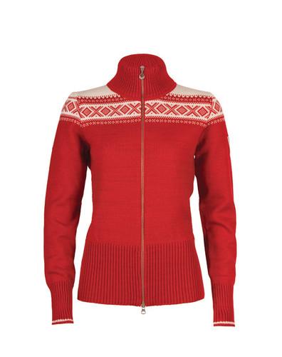 Ladies Dale of Norway Hemsedal Cardigan - Raspberry/Off White, 82261-B--DISCONTINUED