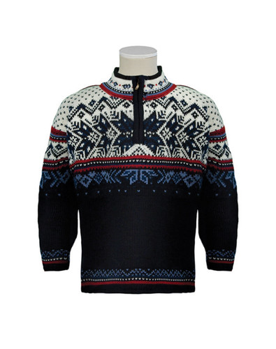 Dale of Norway Vail Pullover, Childrens - Midnight Navy/Red Rose/Off White/Indigo/China Blue, 9034-C