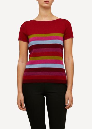 Juliette Oleana Short Sleeve Top with Wide Stripes, 310R2 Dark Red