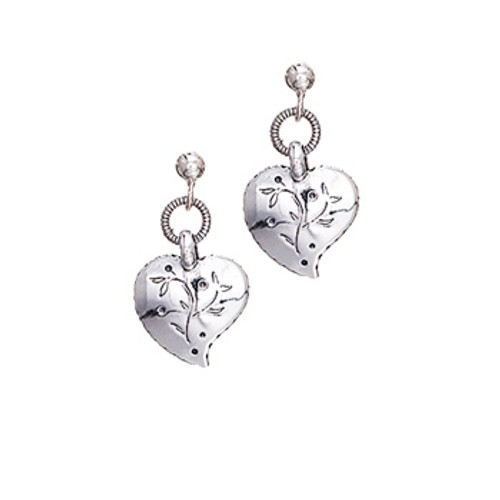 Huldre of Norway Silver Heart Dangle Earrings
