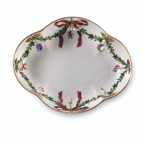 Royal Copenhagen Star Fluted Christmas Oblong Dish, 8.5""