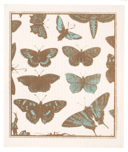 Swedish Dishcloth - Butterflies, Aqua