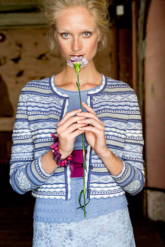 Grete Oleana Short Length Striped Cardigan, 311C Lilac