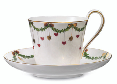 Royal Copenhagen Star Fluted Christmas High Handled Cup & Saucer