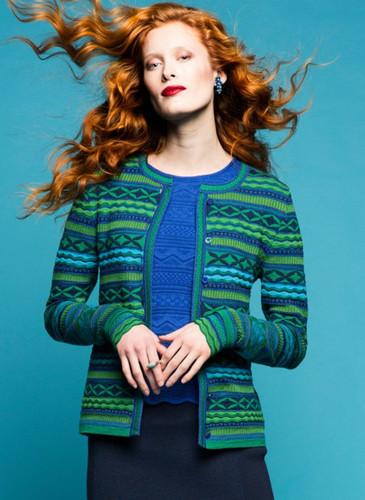 Grete Oleana Medium Length Striped Cardigan, 312G Green