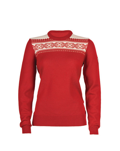 Dale of Norway Ladies  Hemsedal Pullover--Raspberry/Off White, 92301-B