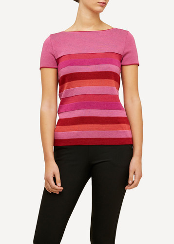 Juliette Oleana Short Sleeve Top with Wide Stripes, 310R Red