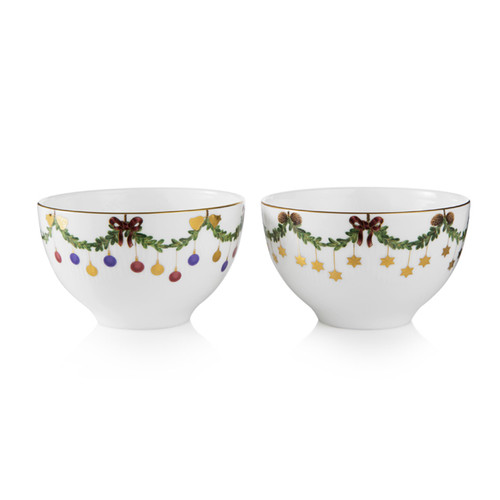 Royal Copenhagen Star Fluted Christmas 2-Pack Chocolate Bowls