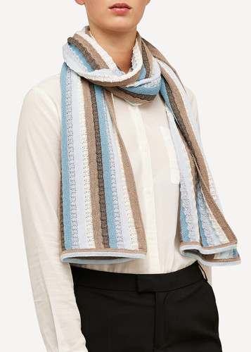 Else Oleana Striped Shawl, 323BQ Light Blue