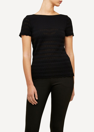 Molly Oleana Short Sleeve Top with Lace Pattern, 309O Black/Grey